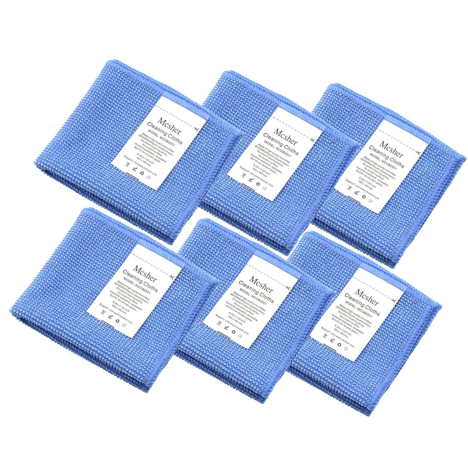 Blue Mcsher Microfiber Cleaning Cloths 6x 7 Inch 6 Pack