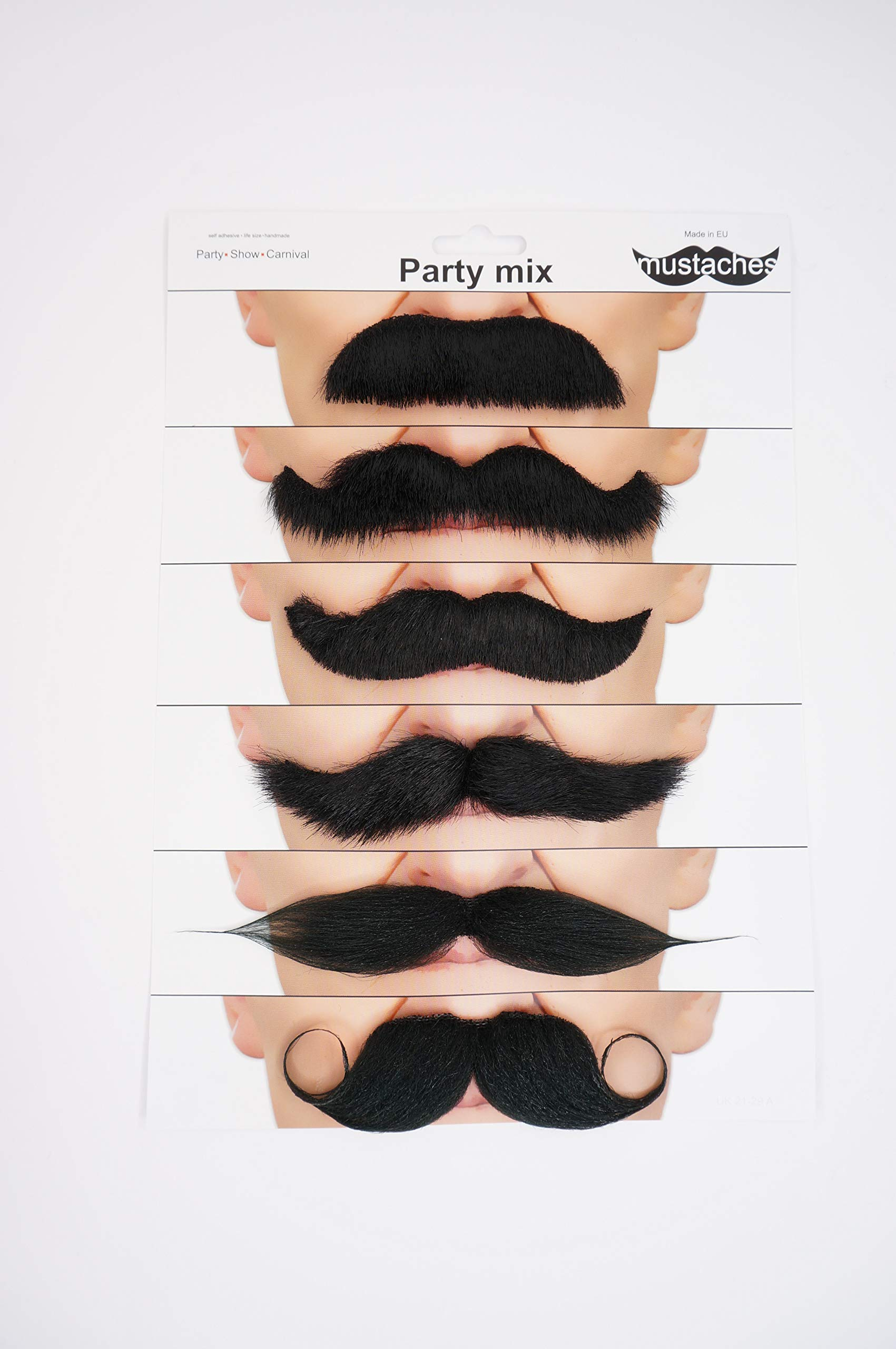Fake mustaches, self adhesive, value pack (6pcs.)