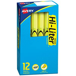 Avery Hi-Liter, Smear Safe Ink, Chisel Tip, 12 Pen Style Fluorescent Yellow School Highlighters (23591)