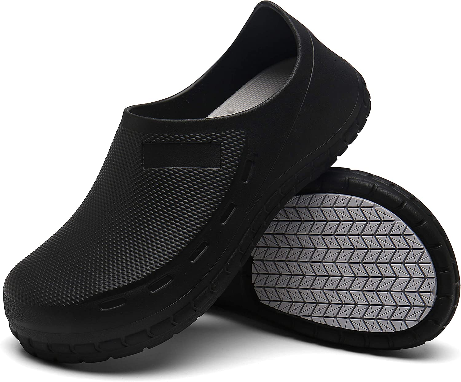 AW ANY WELL Unisex Chef Shoes Professional Oil Water Resistant Nursing Non-Slip Black White Waterproof Safety Working Shoes for Kitchen Garden Bathroom Construction Medical Shoes