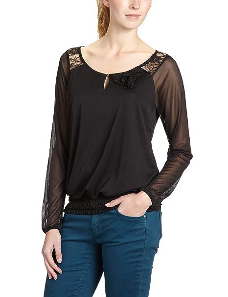 Vero Moda Moda - Blusa de encaje de manga larga para mujer, color negro,
