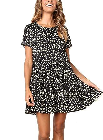 710f3bf87a22c M MEIION Women's Summer Sleeveless Polka Dot Ruffle Hem Swing Dress with Pockets  Black (S