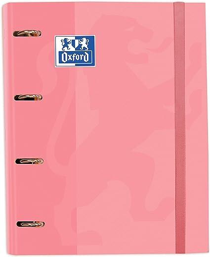 Oferta amazon: Archivador 4 anillas con recambio y goma Oxford, Tapa Extradura A4+ con Recambio 100 Hojas, Cuadrícula 5x5, Color Rosa Chicle