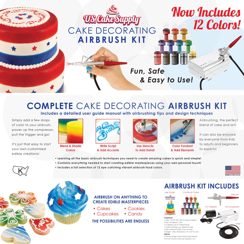 Cake Decorating Airbrush Kit Amazoncom Us Cake Supply Complete Cake Decorating Airbrush