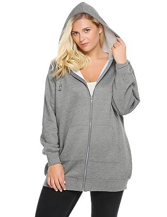 32d3c7abae5e0 Zeagoo Womens Plus Size Casual Zip up Fleece Hoodies Tunic Sweatshirt Long  Hoodie Jacket Grey