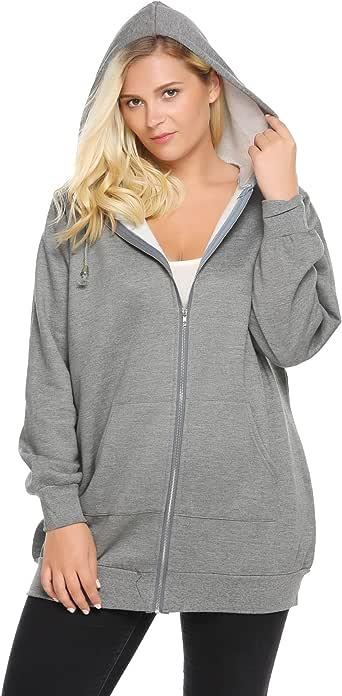Zeagoo Womens Plus Size Casual Zip up Fleece Hoodies Tunic Sweatshirt Long Hoodie Jacket