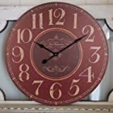 Large Wall Clock, Rustic Decorative Vintage Wooden Wall Clock, Silent Non-Ticking Battery Operated Quartz Movement…