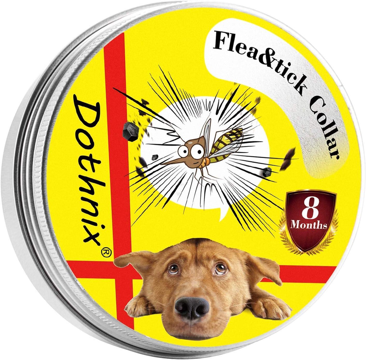 dothnix Collar Antiparasitos Antipulgas para Perros Gatos contra Pulgas,Garrapatas y Mosquitos,8 Meses,Tamaño Ajustable e Impermeable para Mascota Pequeño Mediano Grandes(55cm)