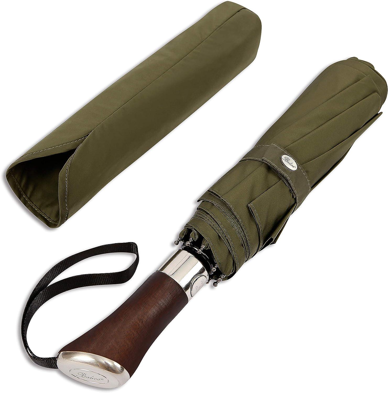 Balios Dark Navy Umbrella Wood Handle Auto Open Close Windproof Travel Folding