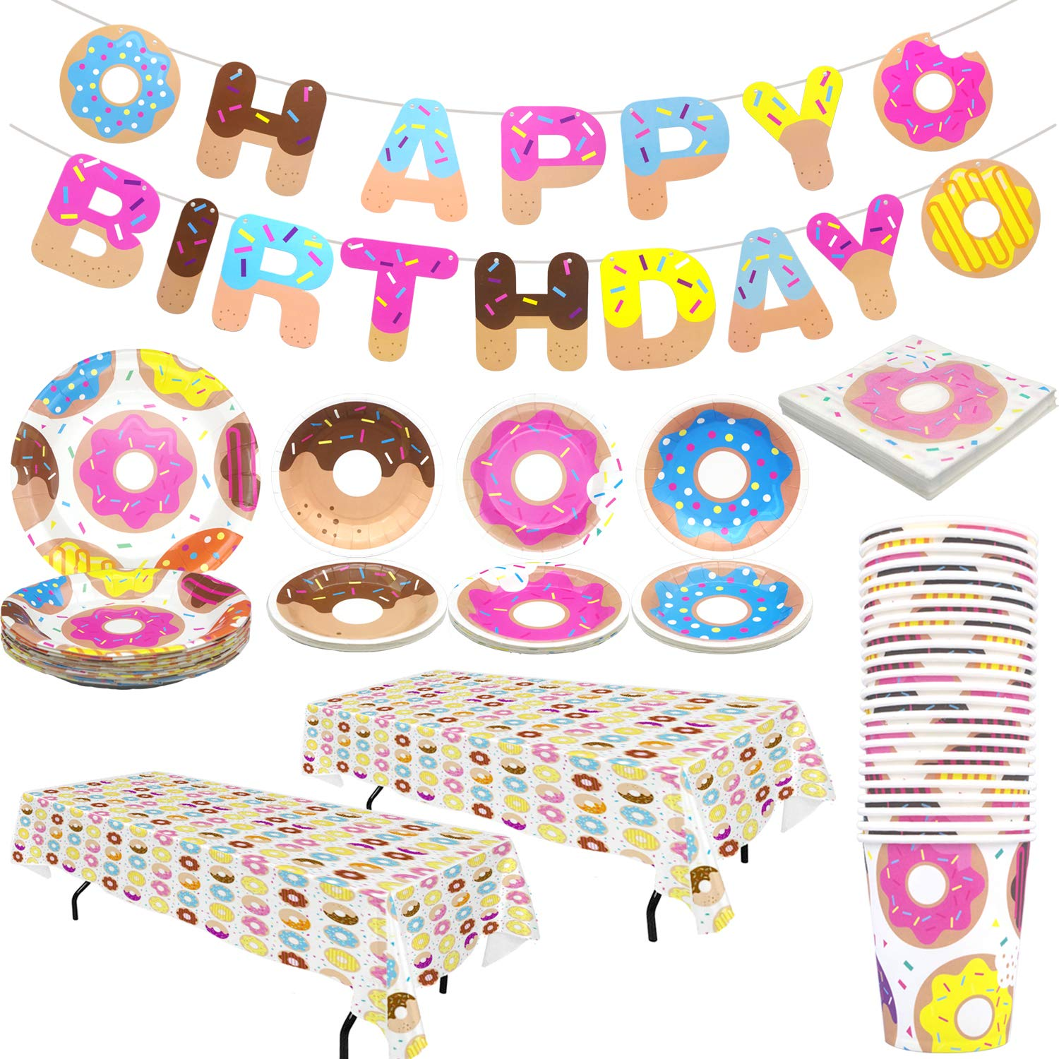 Pandecor Donut Party Supplies,99 Pieces Donut Party Disposable Tableware,Includes Happy Birthday Banner Tablecover Napkins Plates and Cups,Serves 24 by Pandecor