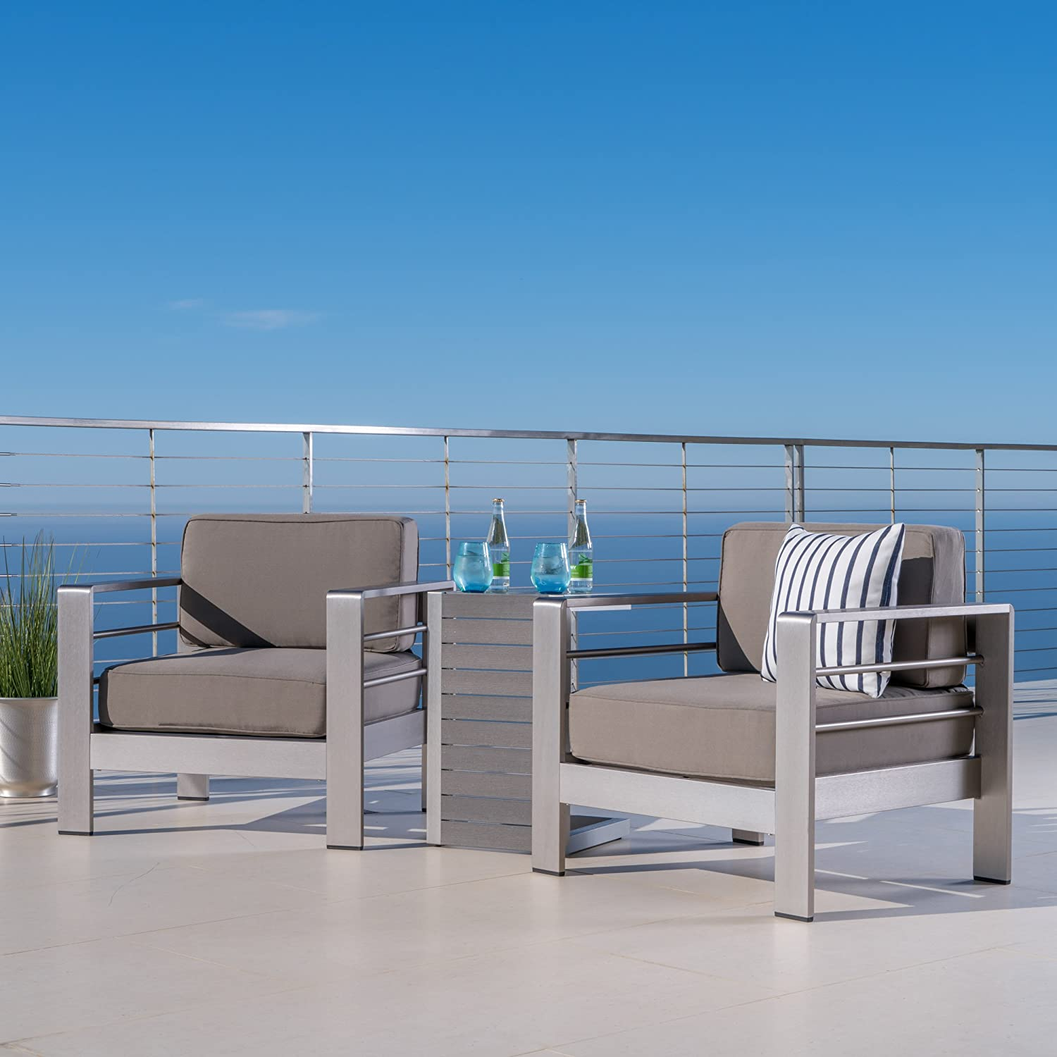 GDF Studio Crested Bay Patio Furniture ~ Outdoor Aluminum Patio Chairs with Side Table (Chat Set)(Khaki/Natural)