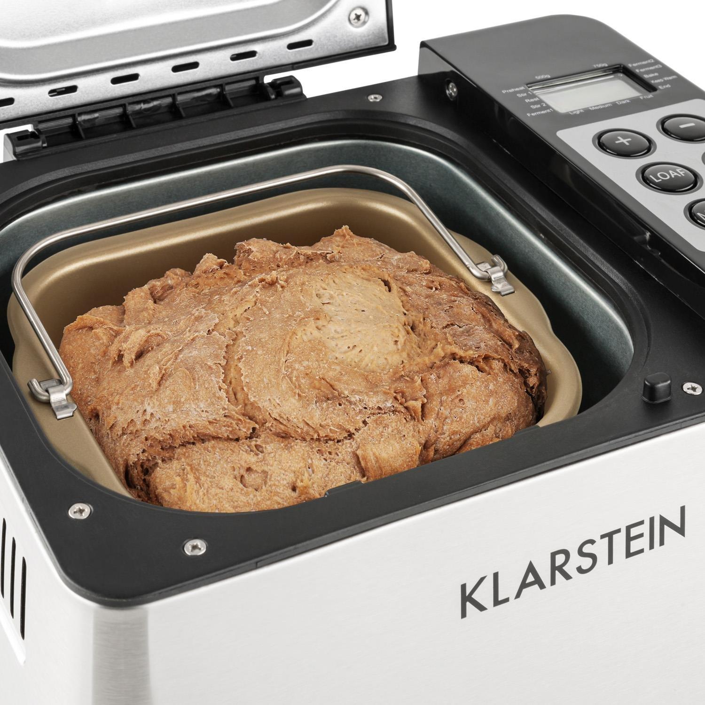 KLARSTEIN Krümelmonster Panificadora (550W de Potencia, Capacidad de 750 g Pan, diseño Compacto, Programa automático, Acero Inoxidable) - Plata/Negro