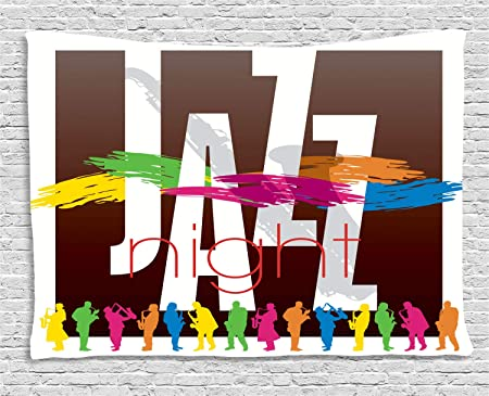 ABAKUHAUS Vistoso Tapiz de Pared, Intérpretes de Jazz Retro, para ...