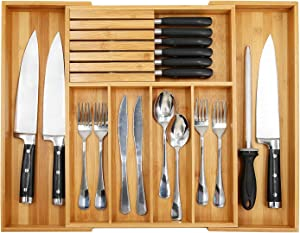 "Bamboo Utensil Organizer Drawer Kitchen, Expandable Cutlery Tray with Divider | 13""-21.6"" Flatware Storage and Removable Knife Block 