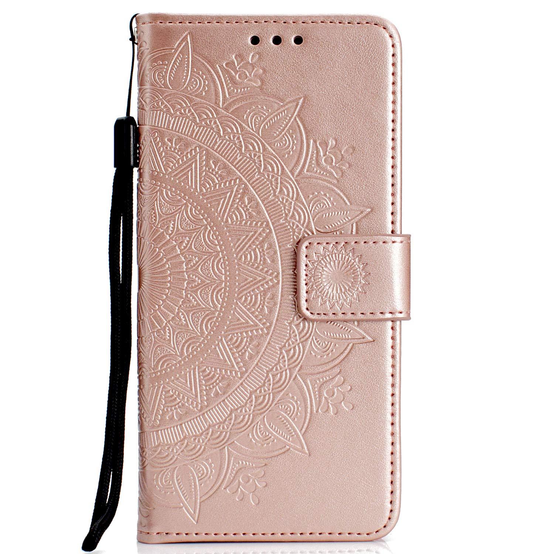 Lomogo [Nokia 7 Plus] Hülle Leder, Schutzhülle Brieftasche mit Kartenfach Klappbar Magnetverschluss Stoßfest Kratzfest Handyhülle Case für Nokia 7Plus - LOHHA11426 Rosa Gold