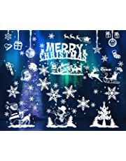LOKIPA 104 pcs Merry Christmas Window Clings Static Snow Flakes Stickers for Window Display Decorations (6Sheets)