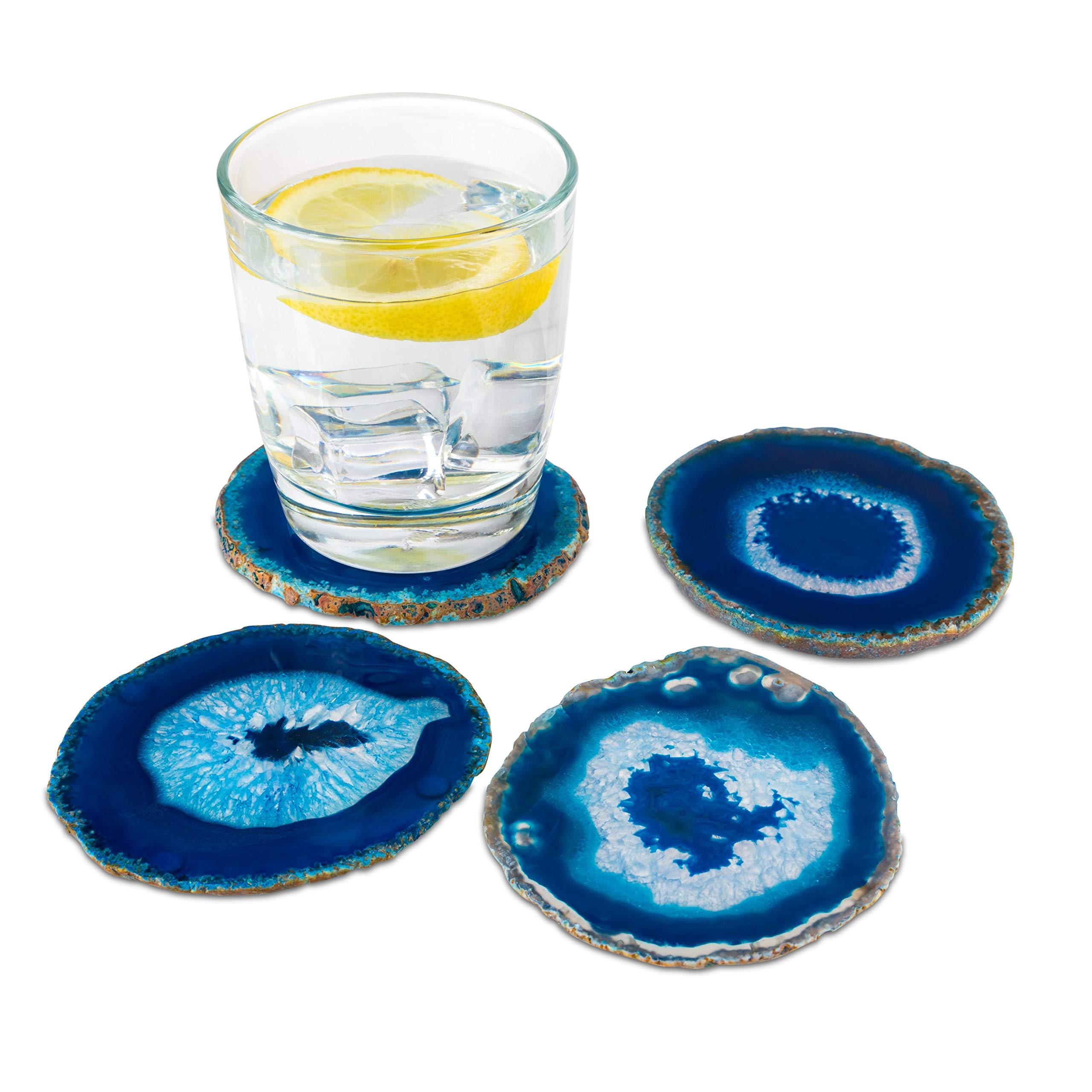 Blue Agate Coasters Set of 4 - 3.5''-4'' - Brazilian Geode Crystal Decor - (3.5''-4'' Blue)