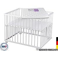 Laufgitter weiß lackiert 75x100 Buche mit Matratze | TÜV geprüft 2019 | TÜV Thüringen | Laufstall Baby