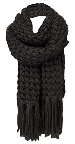 sciarpa a maglia in marrone scuro monocromatico con lunghe frange - stantio dimensione 220 x 30 cm