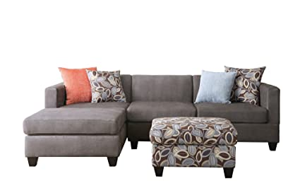 BOBKONA Poundex Simplistic Collection 3 Piece Sectional Sofa With Ottoman,  Charcoal