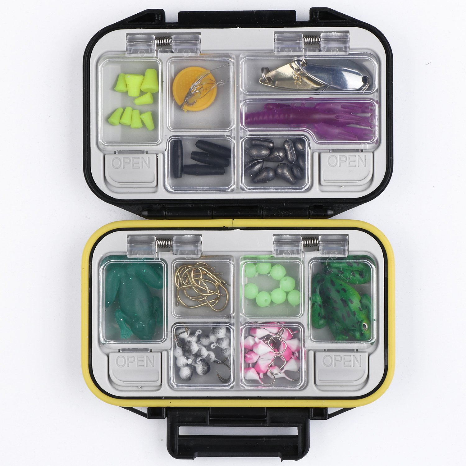 Goture Fishing-Lure-Boxes-Bait Tackle-Plastic-Storage, Small-Lure-Case, Mini-Lure-Box for Vest, Fishing-Accessories Large Boxes Storage Containers (Small/Black)