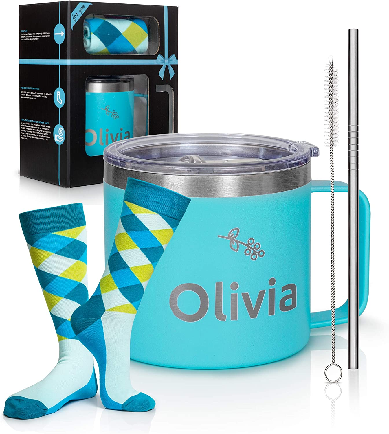 Olivia 14 Ounces Coffee Mug, Double Wall Vacuum Rambler, Insulated Coffee Mug, Travel Mug Tumbler, 5 Pieces Set Bundle, My Awesome Kid Bought Me This Mug, Gifts for Dad, Gifts for dad from Son