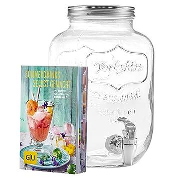 Levivo Dispensador de bebidas de 4 litros, de vidrio, con grifo integrado, moderno