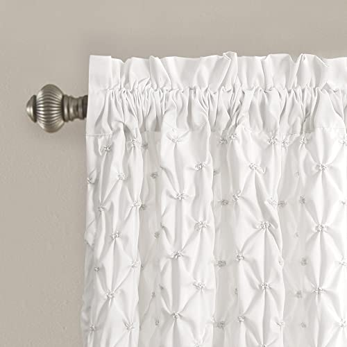 Lush Decor Bayview Curtains – Pintuck Textured Semi Sheer Window Panel Drapes Set for Living, Dining, Bedroom Pair , 84 x 52 , White