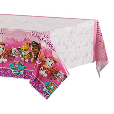 American Greetings Plastic Table Cover for Arts & Crafts, Pink Paw Patrol Party Supplies (1-Count): Toys & Games