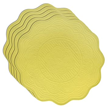 Floral Placemats yellow set of 5 100% cotton quilted washable <span at amazon