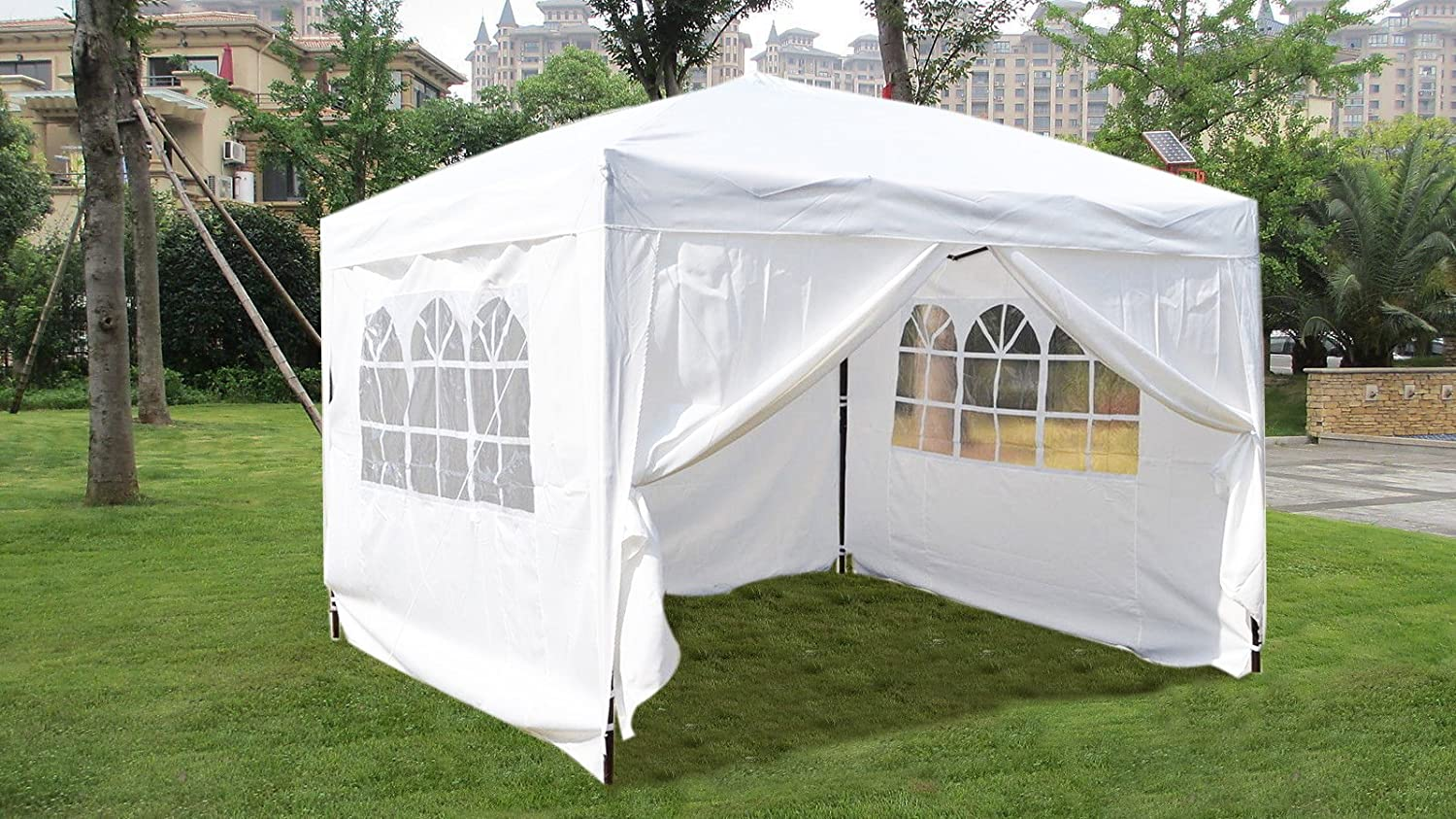 Amazon MCombo EZ Pop Up Wedding Party Tent Folding Gazebo Camping Canopy With Sides 10 X White Garden Outdoor