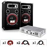 """Equipo DJ PA """"DJ 15"""" Amplificador, Altavoces, 1000W"""