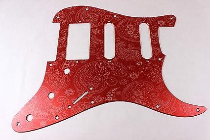 Matte Black Paisley Aluminum HSS Strat Pickguard Fits Fender Stratocaster