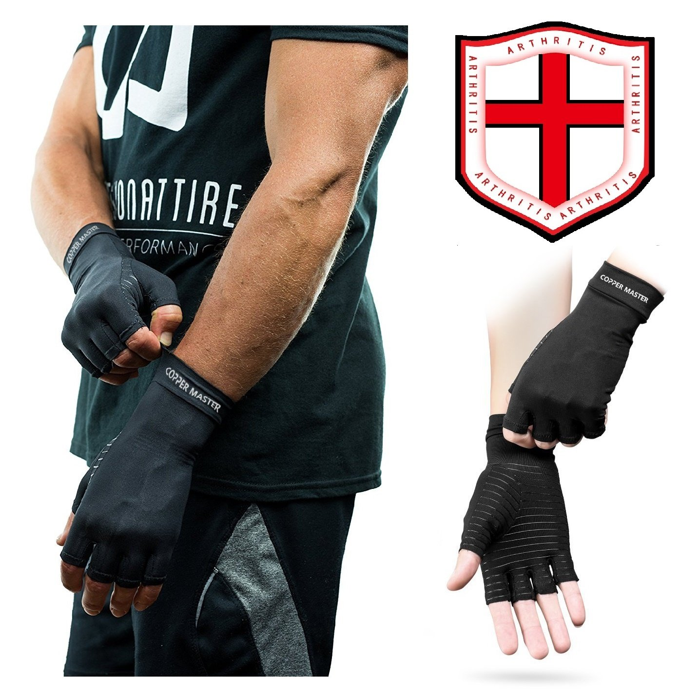 Arthritis Gloves Women- Copper Gloves For Men- Compression Gloves Recovery & Relieve For Arthritis, RSI, Carpal Tunnel, Swollen Hands, Tendonitis, Everyday Support & More- Fingerless Gloves/ Black/ L by Highcamp (Image #6)