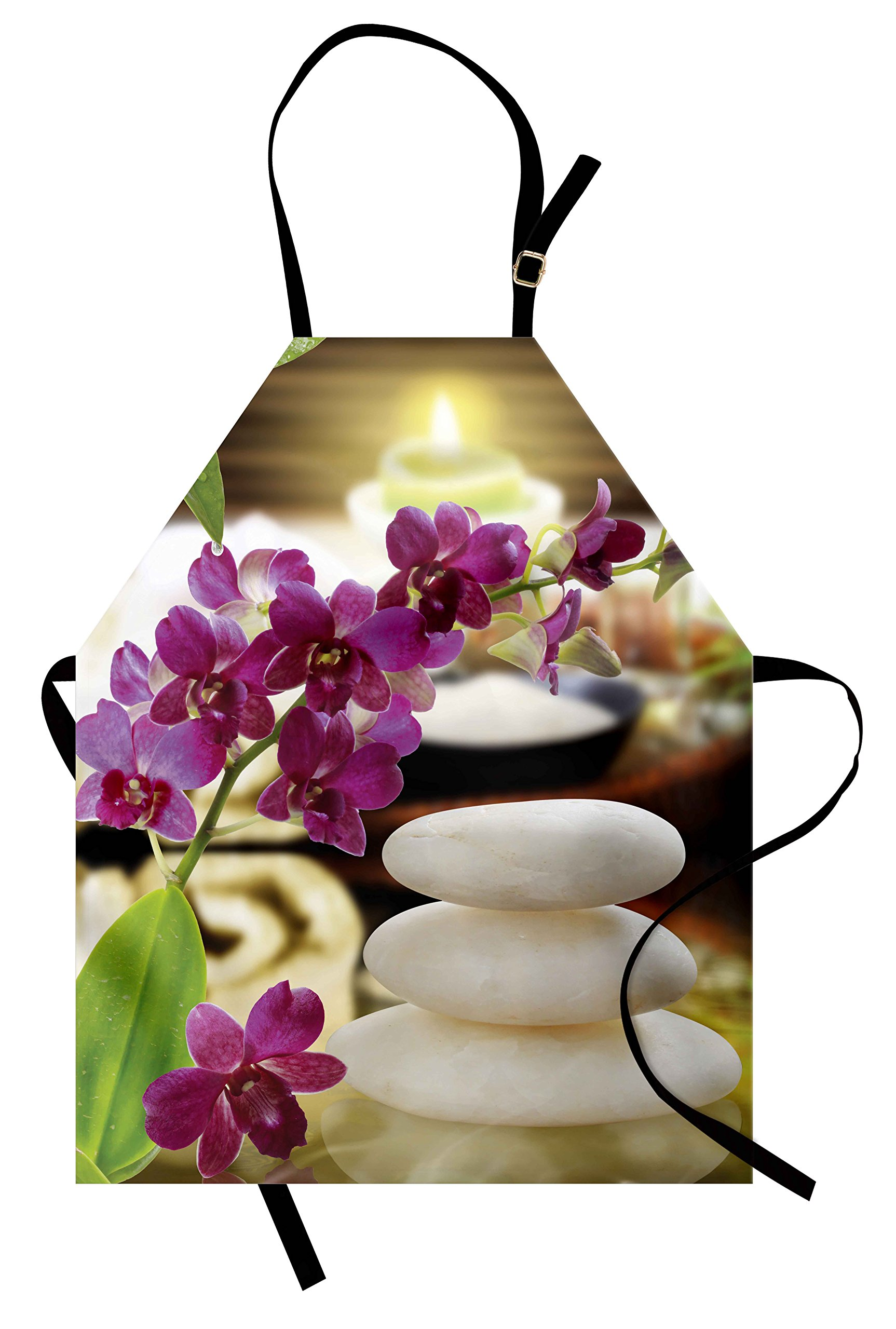 Lunarable Spa Apron, Refreshing Spa Day with Stones Herbal Salts and the Exotic Flowers Print, Unisex Kitchen Bib Apron with Adjustable Neck for Cooking Baking Gardening, Purple White and Green
