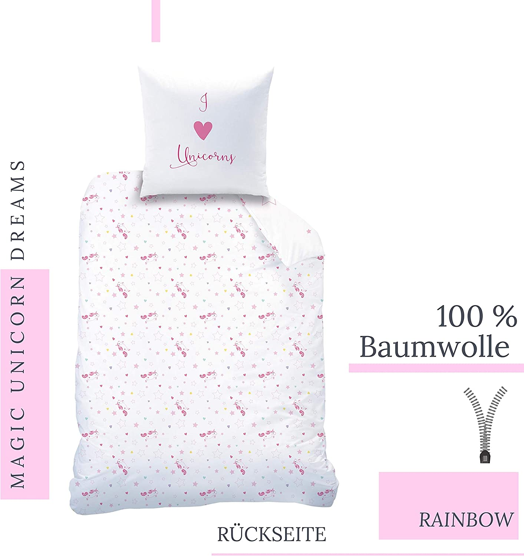 1 Bettbezug 135x200 cm CTI Unicorn Flannel//Biber Bettw/äsche Bettbezug 135x200 80x80 /· Kinderbettw/äsche f/ür M/ädchen /· Einhorn Regenbogen /· 2 teilig Wendemotiv /· 1 Kissenbezug 80x80