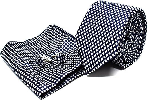 Corbata de hombre, Pañuelo de Bolsillo y Gemelos Azul Marino a ...