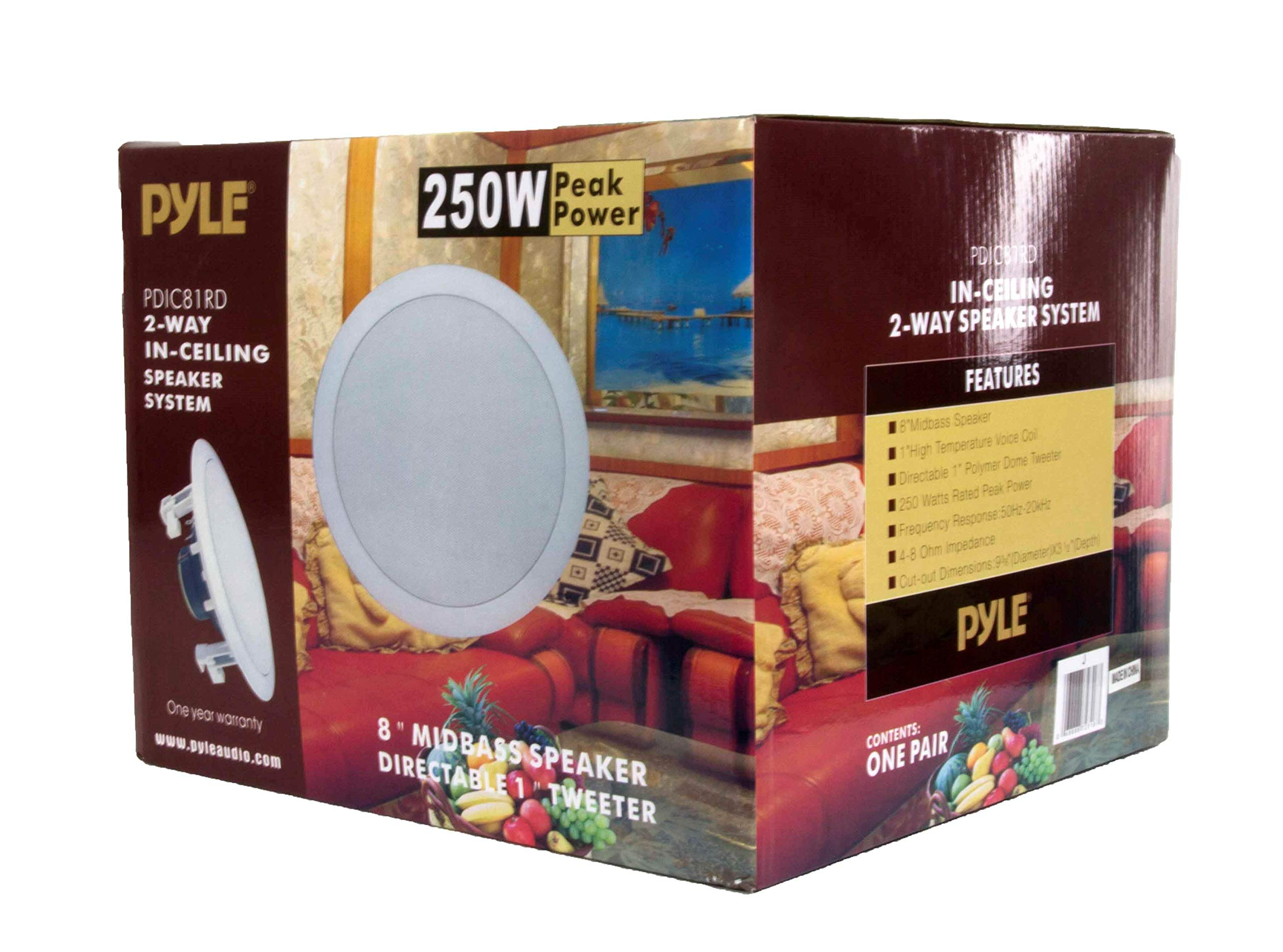 NEW PYLE PDIC81RD 8'' 1000W Round Wall And Ceiling Home Speakers 2 PAIR by Pyle