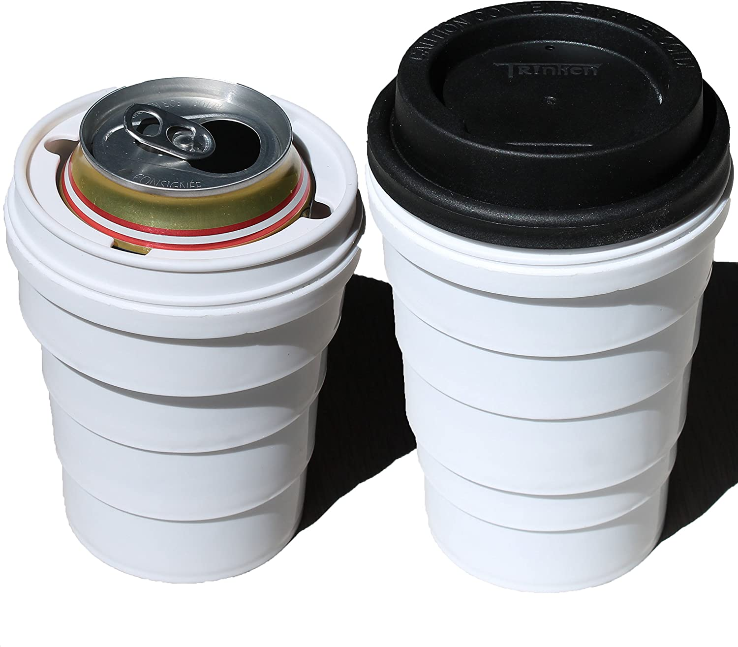 Trinken Lid and Collapsible Cup Can Cooler, Hide Your Beverage Can and Keep it Cold, Perfect for Outdoors Events, Hiding Drinks From Children, Keeping Drinks Cold, Hands Warm Nicer Drinking Experience