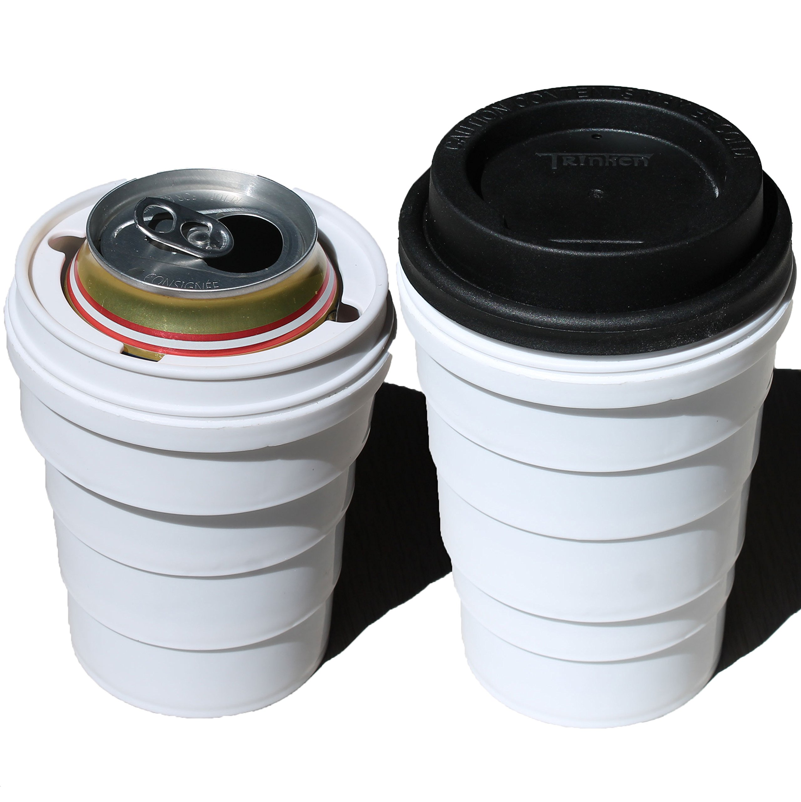 Trinken Lid and Collapsible Cup Can Cooler, Hide Your Beverage Can and Keep it Cold, Perfect for Outdoors Events, Hiding Drinks From Children, Keeping Drinks Cold, Hands Warm Nicer Drinking Experience by Trinken
