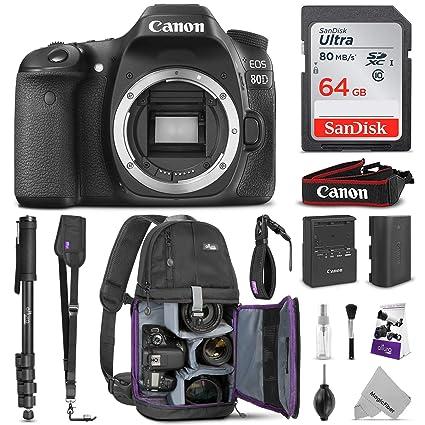 Canon EOS 80D DSLR Camera Body w/Advanced Photo & Travel Bundle - Includes:  Canon USA Warranty, Altura Photo Backpack, SanDisk 64gb SD Card, Monopod,