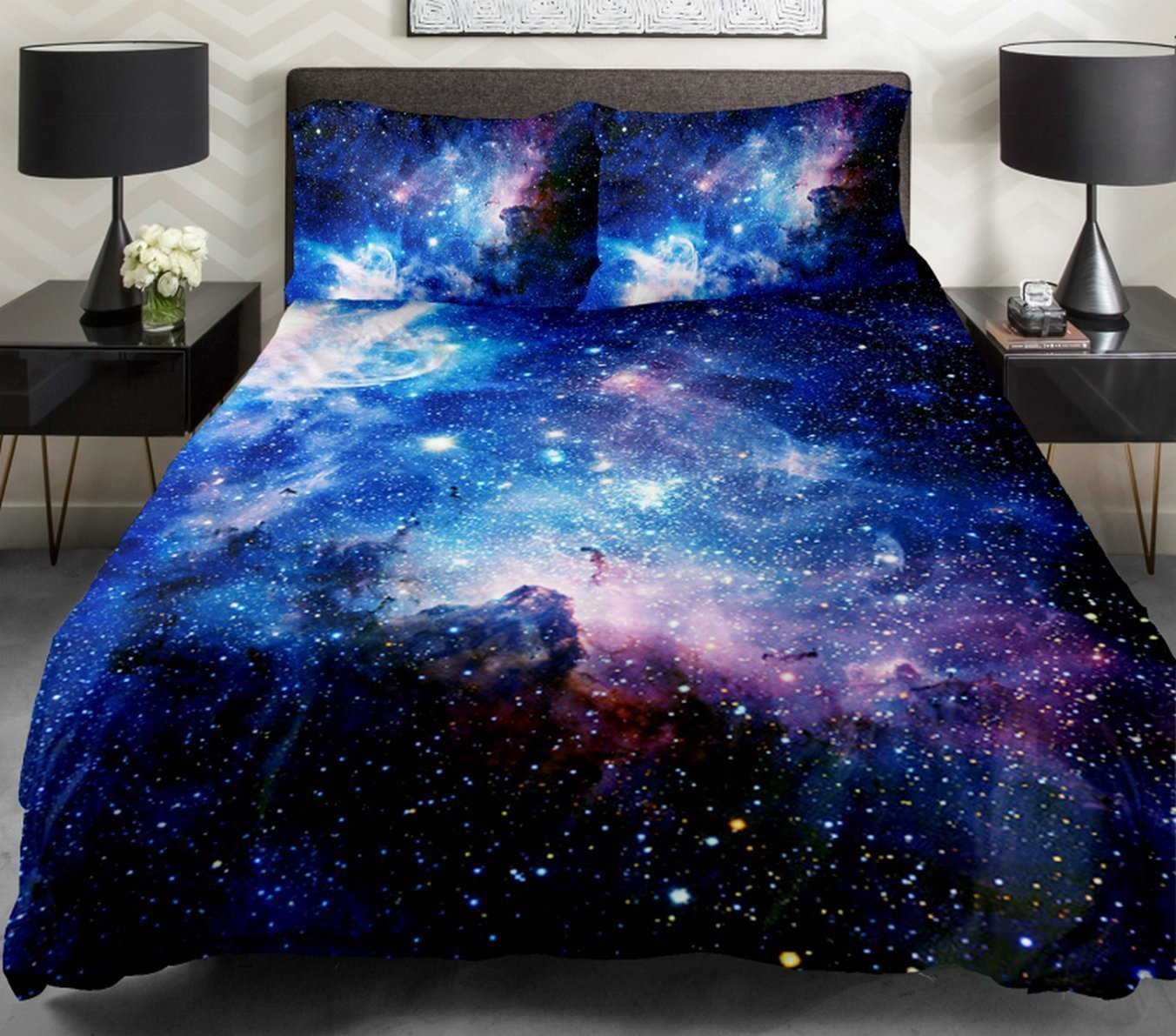 Anlye 4PCS Full Size Galaxy Bedding Sets Cotton Bedroom Set With 1 Cotton Sheet 1 Galaxy Duvet Cover 2 Pillowcase for Full Comforter,Best Gift Ideas