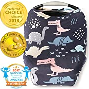 Nursing Cover Car Seat Canopy Shopping Cart High Chair Stroller and Carseat Covers for Boys or Girls- Best Stretchy Infinity Scarf and Shawl- Multi Use Breastfeeding Cover- Dinosaurs