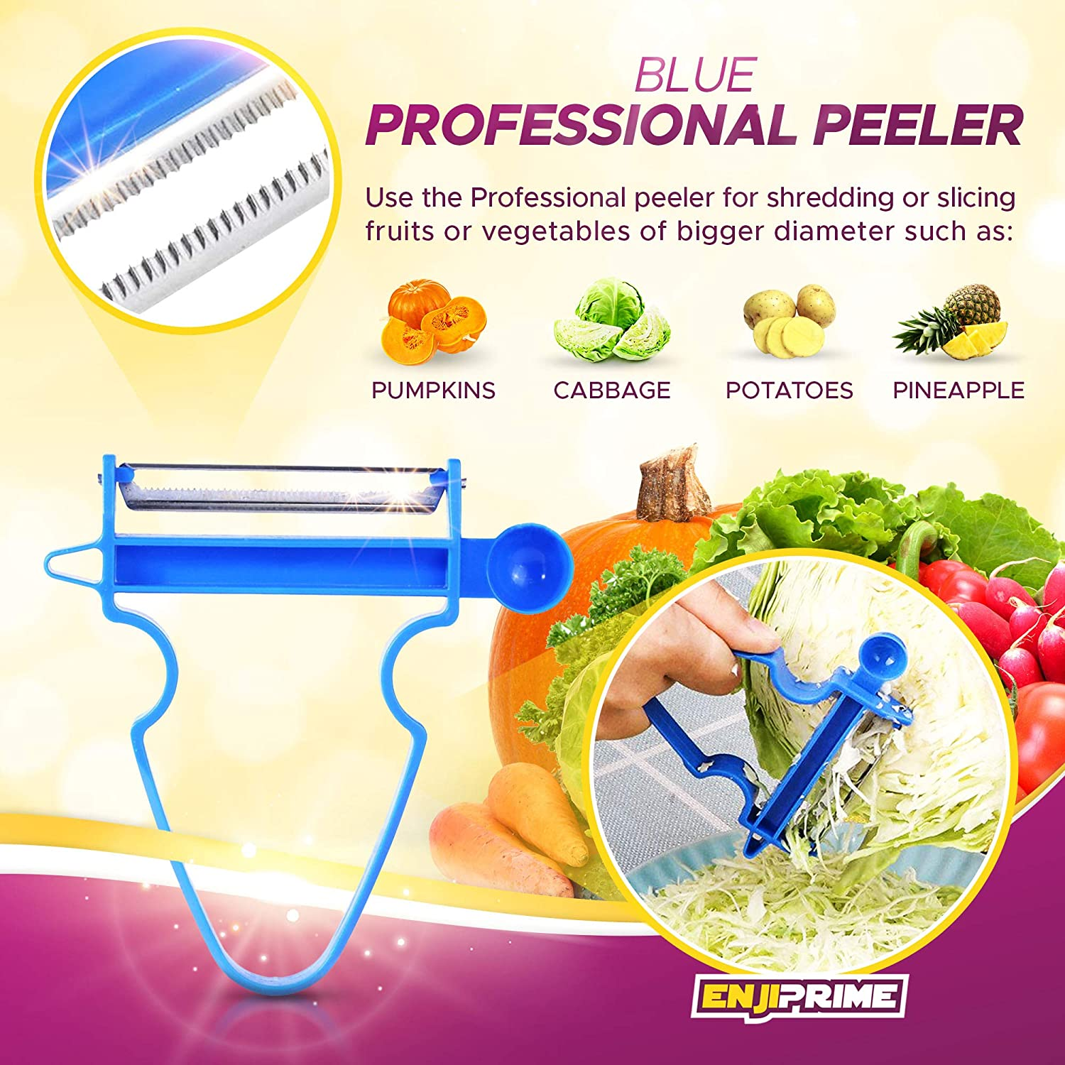 Kitchen Magic 3pcs//Set Peeler Trio Slicer Shredder Julienne Fruit Cutter Tools