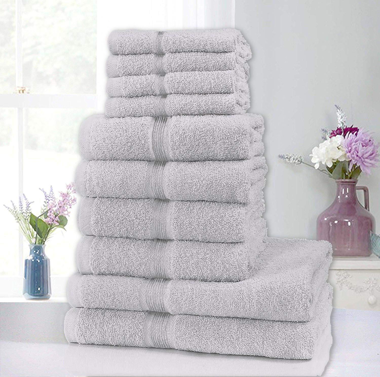 clicktostyle Puro cotone asciugamani in 10pezzi Set 4Face 4mano 2teli da bagno altamente assorbente, White, Face (30x30cm) Hand (50x80cm) Bath (70x120cm)