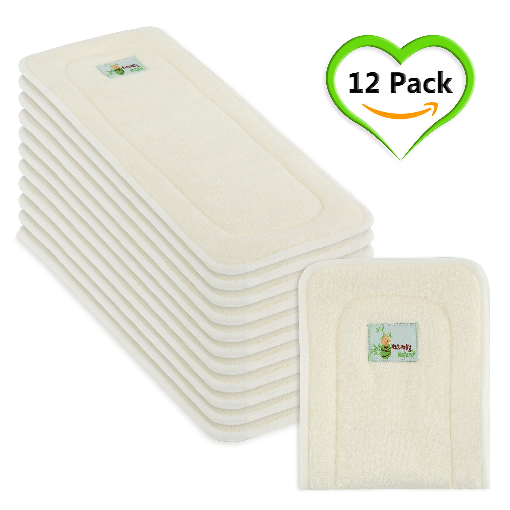 Naturally Natures Cloth Diaper Inserts 5 Layer - insert - Bamboo Reusable Liners (pack of 12) Liner