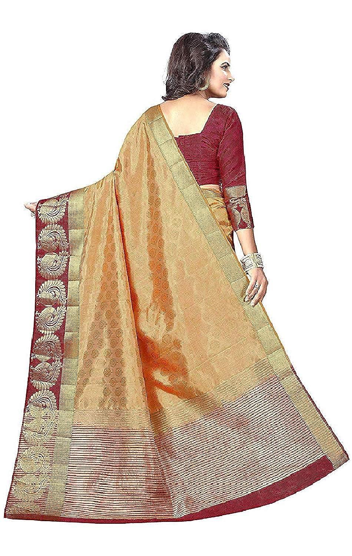 Women's Banarasi Raw Silk Saree With Blouse Piece