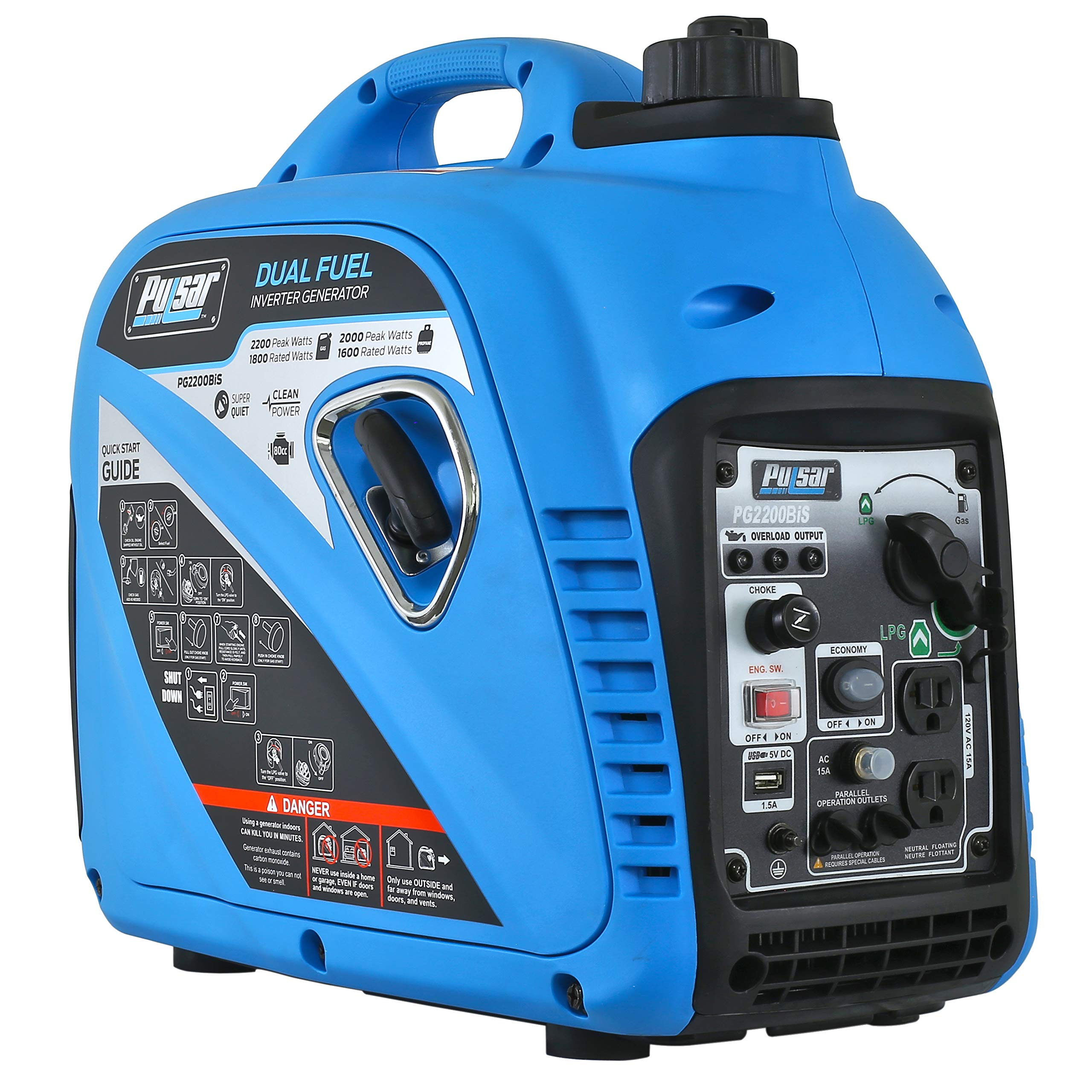 Pulsar 2,200W Portable Dual Fuel Quiet Inverter Generator With USB Outlet & Parallel Capability,