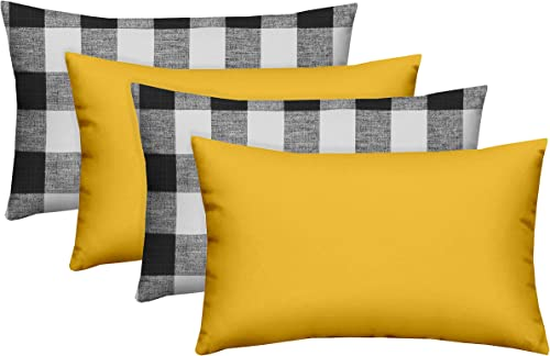 RSH D cor Designer Indoor Outdoor – Buffalo Plaid Coordinating Lumbar Pillow Sets 20 x 12 , Black Plaid-Yellow