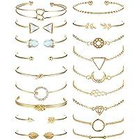 SAILIMUE 18Pcs Multiple Layered Stackable Bracelets for Women Open Cuff Wrap Bangle Bracelet Set Gold Olive Leaf Arrow…
